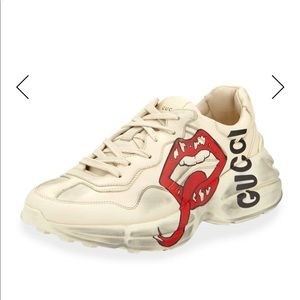 Mens Gucci Rhyton Sneakers With Mouth Print